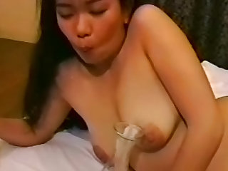 Gangbang, bukkake and cum eating for Asian chubby slut