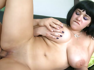 Cute short-haired babe was fucked in her chubby body