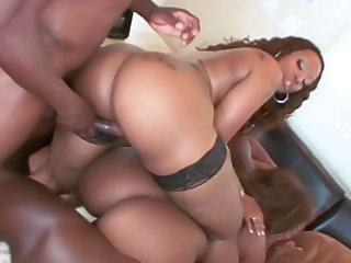 Tow busty ebonies are fucking with big black dick
