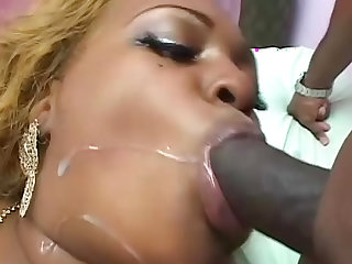 Getting sweaty pounding fat black pussy