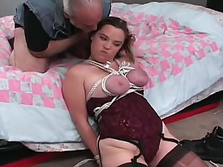 He gets to fuck this chubby bound girl