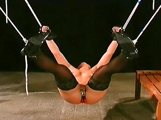 Stockings girl in sexy bondage play