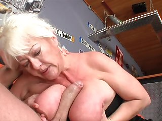 Fat mature blonde Dora fucks with big dick