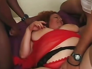 Fat slut sexed up by two guys