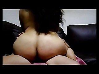 Riding on sofa cumming inside her